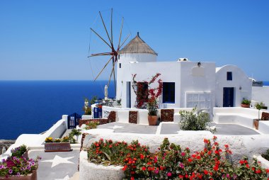 Windmill on Santorini island, Greece
