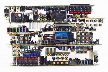 Broken electronic boards garbage dump
