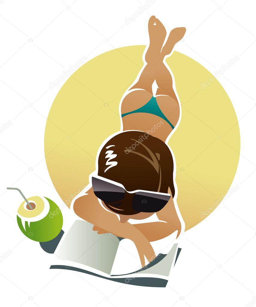 Sunburn girl lays on a beach