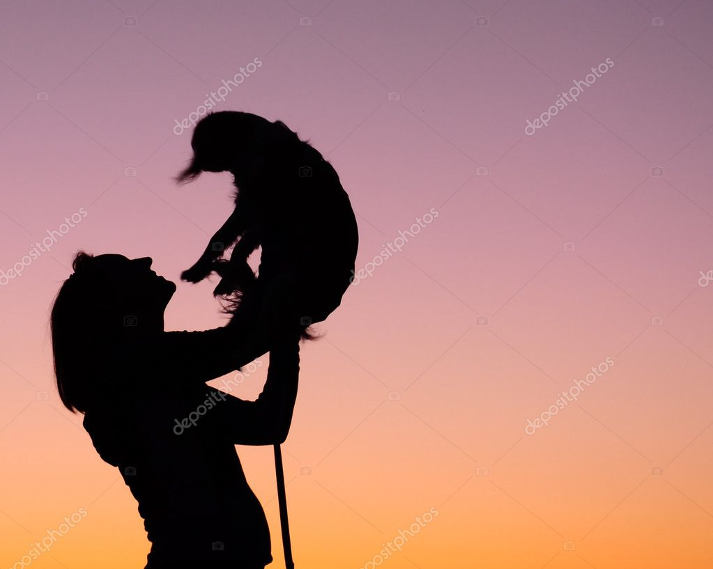 Woman With Dog Silhouette