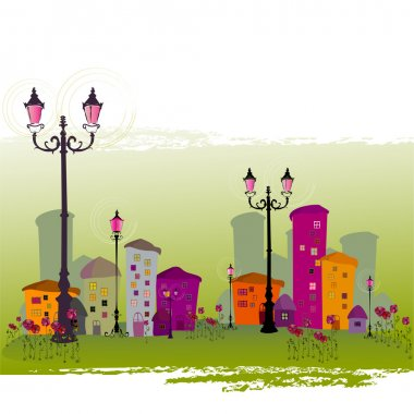 Cute illustrated abstract city