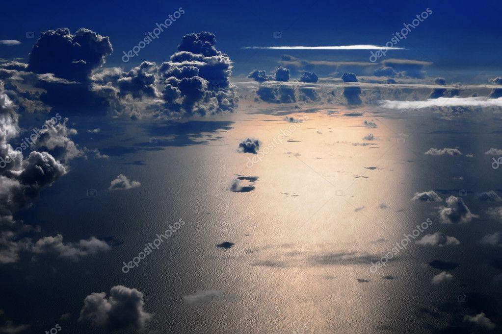 Night flight over the sea
