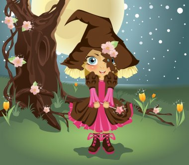 Little witch in the woods