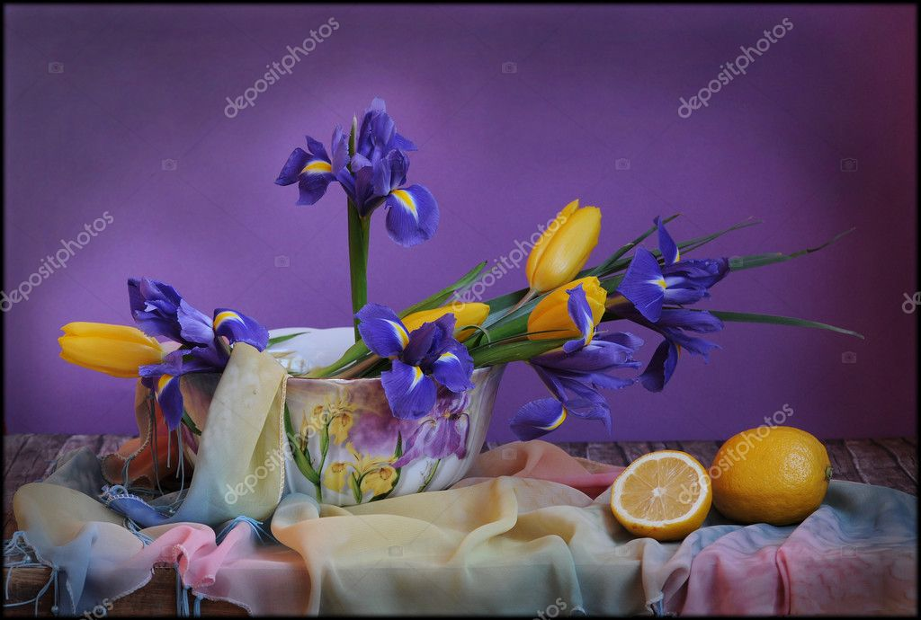 Still life with blue irises