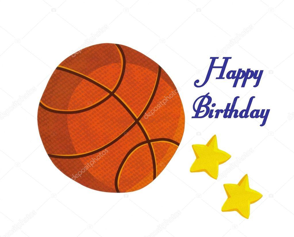 Открытка баскетбол с днем рождения, днем