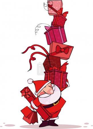 Illustration pour Père Noël avec une énorme pile de cadeaux de Noël - image libre de droit