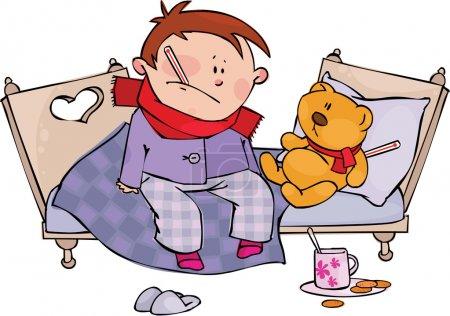 Illustration pour Garçon malade et ours en peluche avec thermomètre - image libre de droit