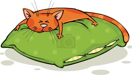 Illustration for Ginger cat sleeps on a green pillow - Royalty Free Image