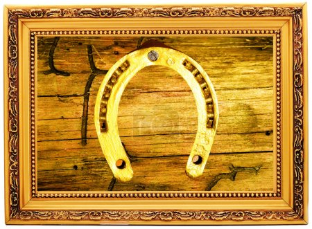 Gold horseshoe on an old wooden