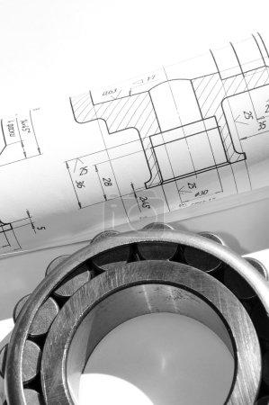 Photo pour Dessin mécanique et outils / roulement - image libre de droit
