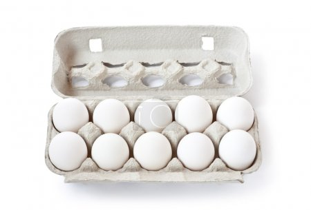 Photo for Carton box with eggs isolated on the white background - Royalty Free Image