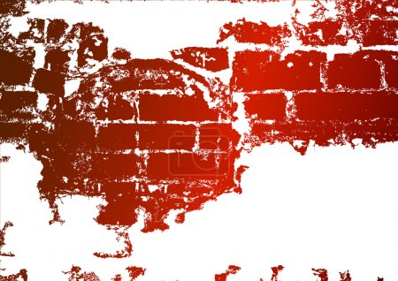 Illustration for Old brick wall, stained whitewash - Royalty Free Image