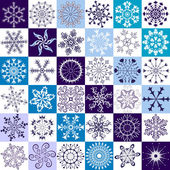 36 isolated snowflakes on white and blue backgrounds (vector)