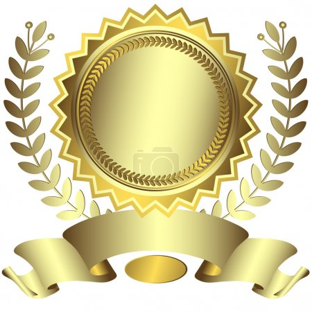 Silvery and golden award with ribbon (vector)