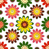 Seamless floral white red pink and green vivid pattern (vector)