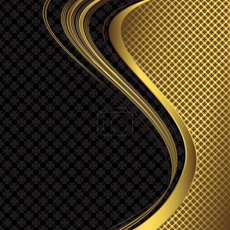 Illustration pour Cadre décoratif abstrait floral noir et or (vecteur ) - image libre de droit