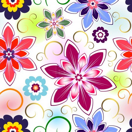 Illustration for Seamless vivid floral pattern with colorful spots (vector EPS 10) - Royalty Free Image