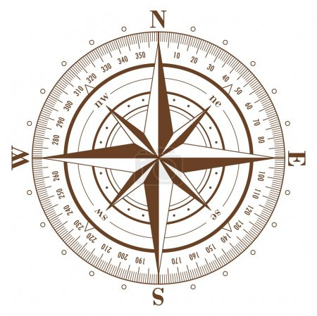 Illustration for Brown compass rose isolated on white - Royalty Free Image