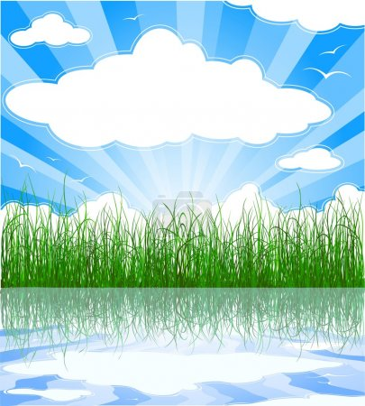 Illustration for Sunny summer background with grass, water, clouds and sunbeams - Royalty Free Image
