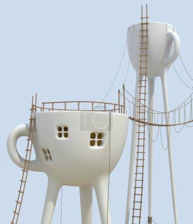 Surrealistic tea cups