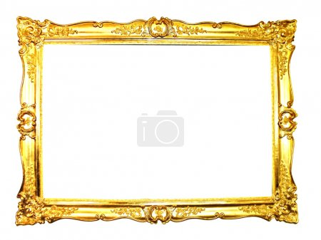 Photo for Vintage picture frame, gold plated, white background. Baroque picture frame to put your own pictures in. - Royalty Free Image