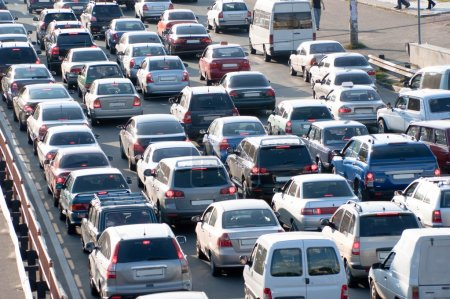 Photo for Traffic jam in Kiev. Ukraine - Royalty Free Image