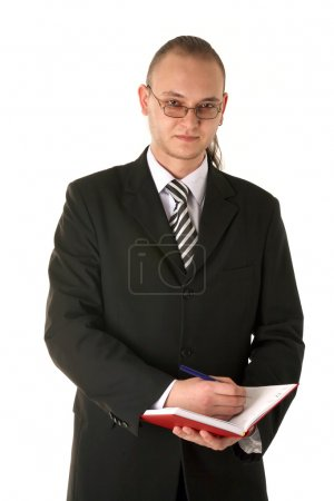 Businessman in glasses planning his day