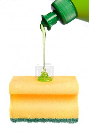 Photo for Sponge with detergent, isolated on white background - Royalty Free Image