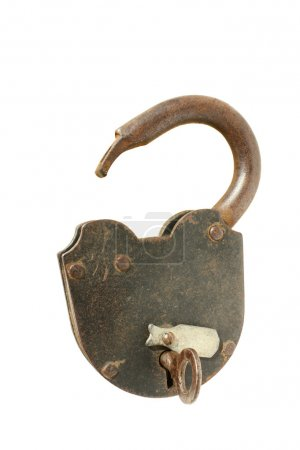 Old padlock isolated on a white backgrou