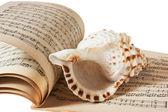 livre musique et coquille de mer