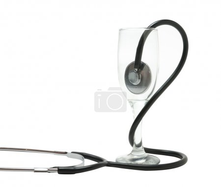 Medical stethoscope and a wine glass