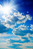 Blue sky with sun closely