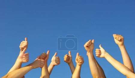 Photo for Group of hands in the air - Royalty Free Image