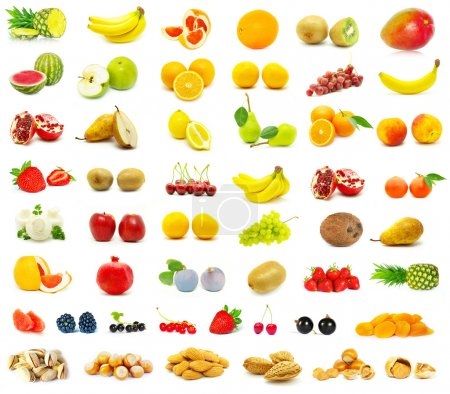 Photo pour Grande page de fruits sur fond blanc - image libre de droit