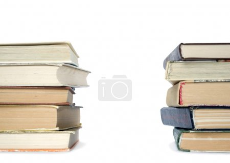 Photo for Pile of books on a grey background - Royalty Free Image