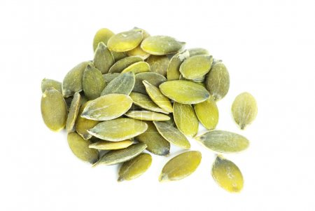 Photo for Fresh pumpkin seeds isolated on a white - Royalty Free Image