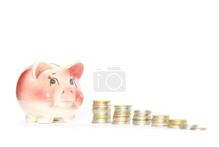 Foto de Rosa hucha aislado sobre fondo blanco con monedas - Imagen libre de derechos