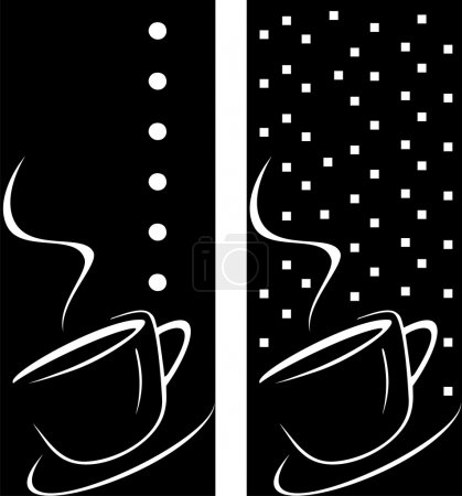 Coffee cup on abstract black background