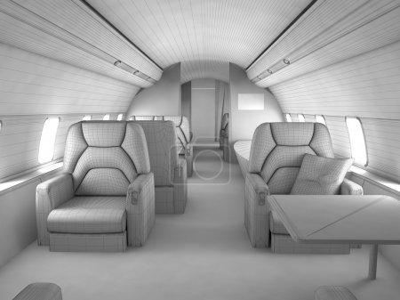 Photo pour Plan de modèle 3D de l'intérieur de l'avion privé avec design personnalisé - image libre de droit