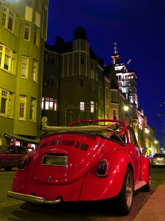 Classic Car parked on Night Street