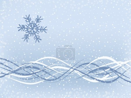 Snowflake and wavy ribbons on snow-covered backgro...