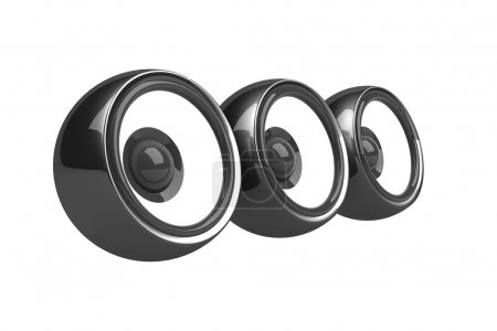 Three black speakers audio system