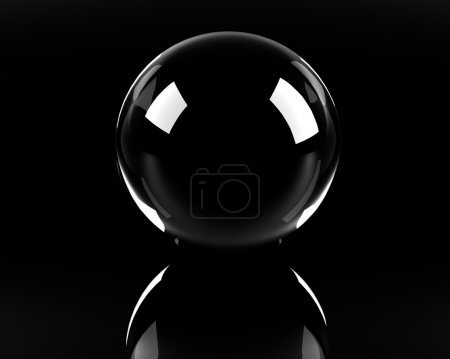 Empty glass sphere on the black