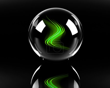 Green abstract waves in the glass sphere