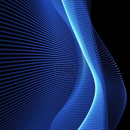 Photo pour Fond néon bleu vif ondulé en perspective - image libre de droit