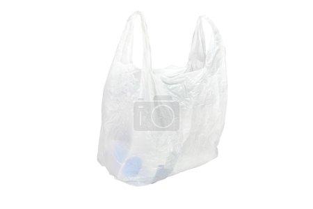Photo pour Sac plastique blanc sous le fond blanc - image libre de droit