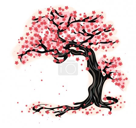 Illustration for Japanese tree - Sakura. Vector. - Royalty Free Image