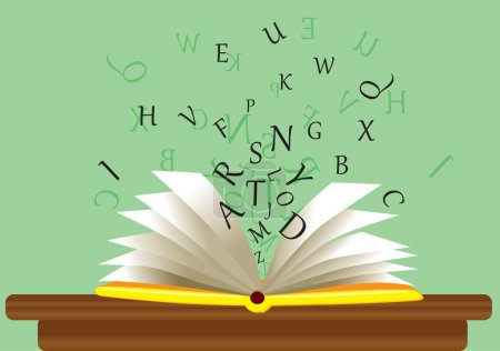 Open book on a table with letters. Vector....