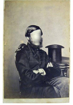 Photo pour Homme Vintage photo sur le fond. visages cloné dehors. vous pouvez utiliser le contrôle frame ou ajouter votre visage. - image libre de droit