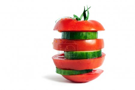 Ripe tomato and cucumber